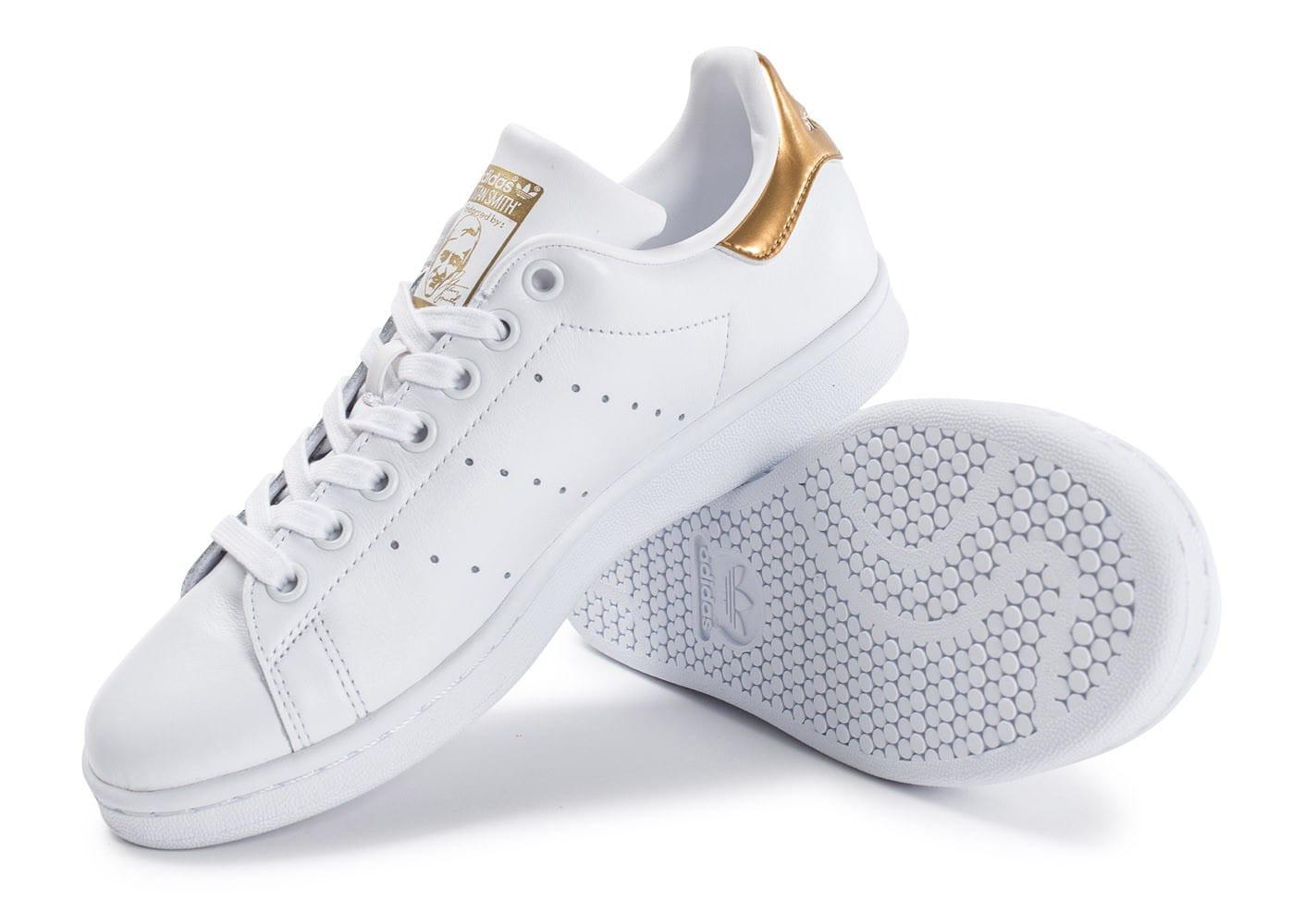 grossiste d762b 6a4aa Blanc Smith Femme Dore Adidas Stan JcFlK1